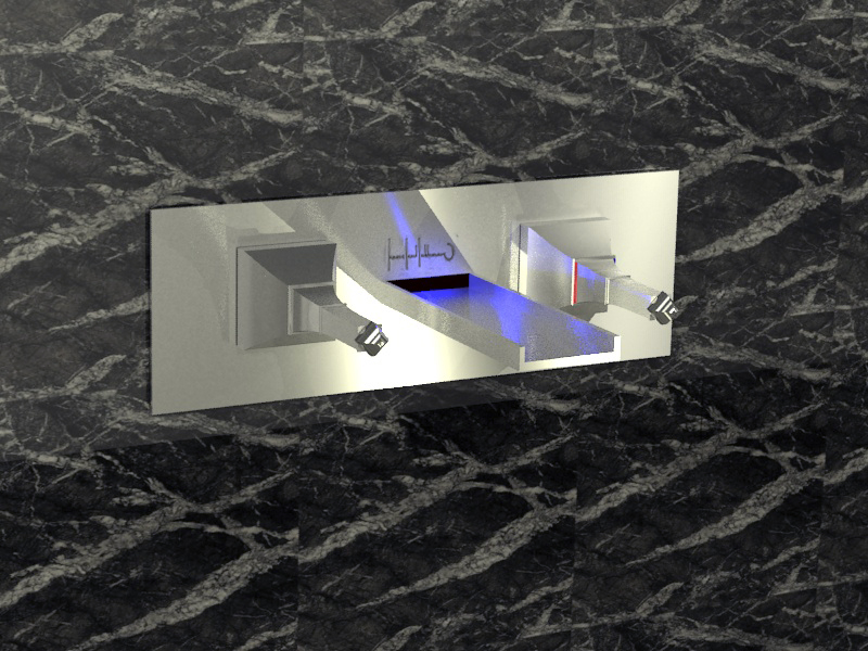 lavabo mural bleu