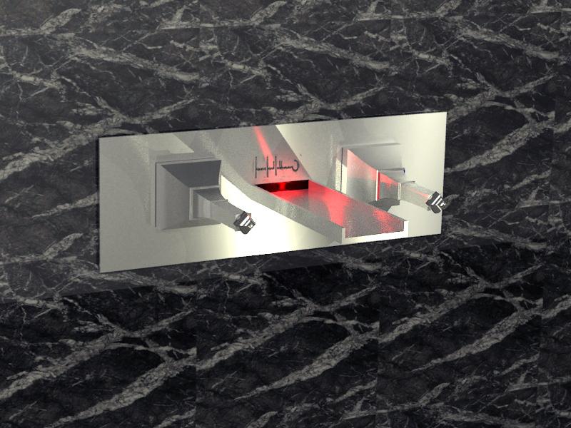 lavabo mural rouge